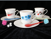 220cc ceramic porcelain coffee cup and saucer set with decal design
