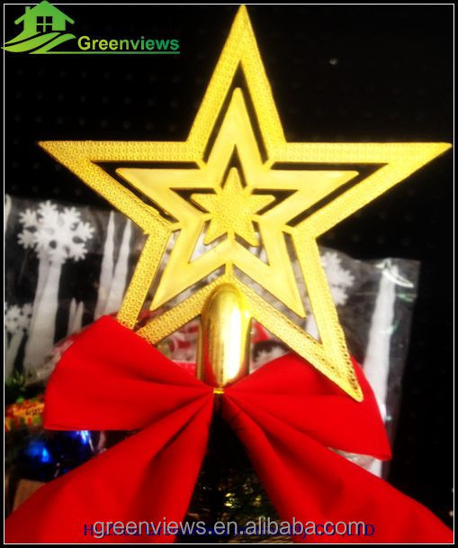Christmas decoration tree top star Plastic gold christmas decorations