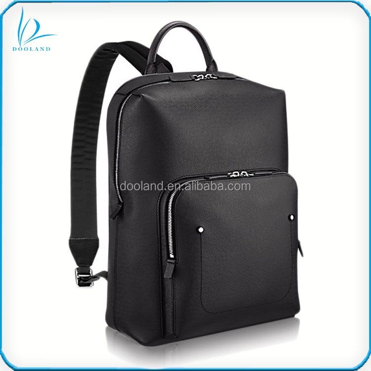 High quality designer black taiga textured pattern cowhide man backpack leather