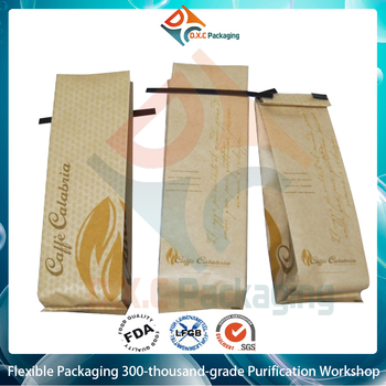 Stand Up Kraft Paper Bag For Coffee/Tea/Food/Aluminum Foil Kraft Side Gusset Bag