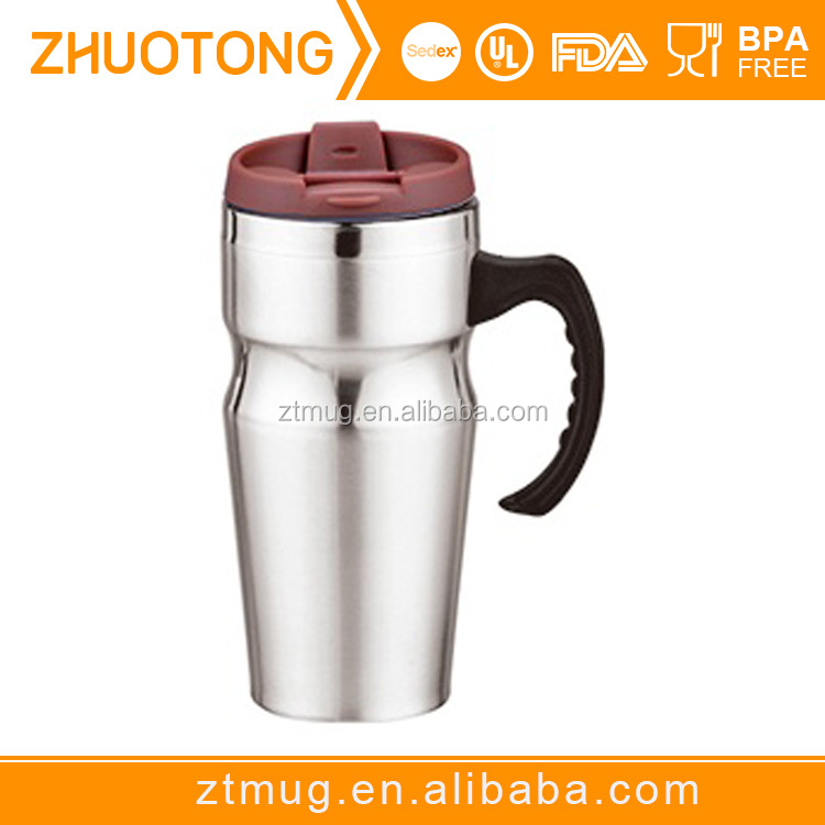 promotional item stainless steel double wall custom travel mug with handle , gift mug