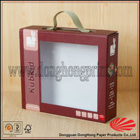 Disposible tote clear window cardboard doll box