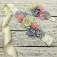 Ivory Grey Flower Sash Belt Matching Headband Sets With Vintage Pearl Sash Beaded Headband