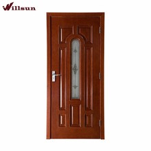 Popular Entry Wood Door Glass Inserts Copper Glazing