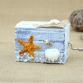 Ocean style wooden hand crank music box for promotive gift