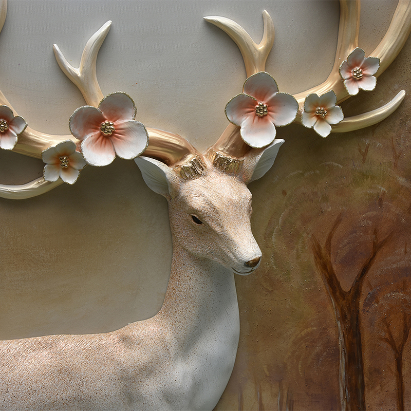 Canvas Oil Painting Deer Resin Relief 3d Wall Art