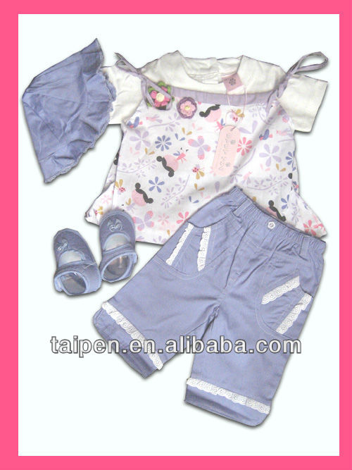 Summer High Quality 100% Cotton Baby Girt Set Babys Clothes 4pcs Baby Clothing Set 0-12 Months