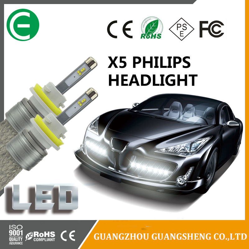 Top brand Phillips chip X5 LED Headlight bulbs 50W 6000K with cambus Single/Double Beam available