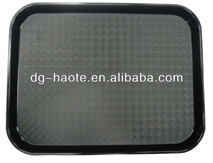 Plastic Retanguler anti-slip KFC serving food tray HTR-001A black