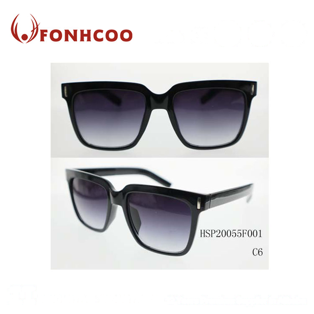 FONHCOO Custom Logo Fashion Black Frame Men Plastic Sunglasses
