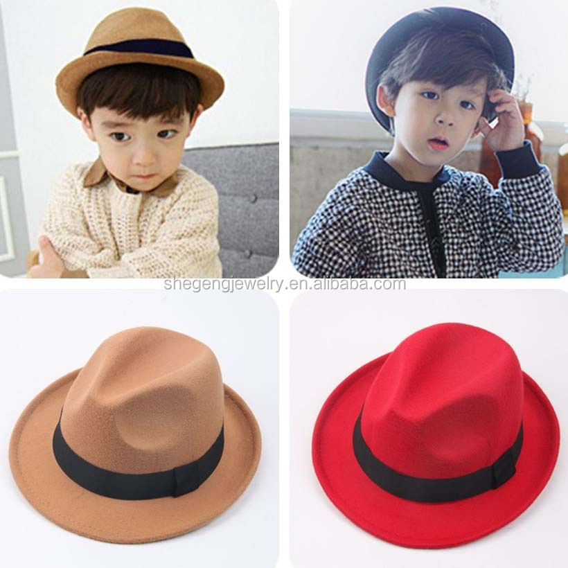 Kids Children Boy Girl Floppy Wide Brim Panama FELT Hats