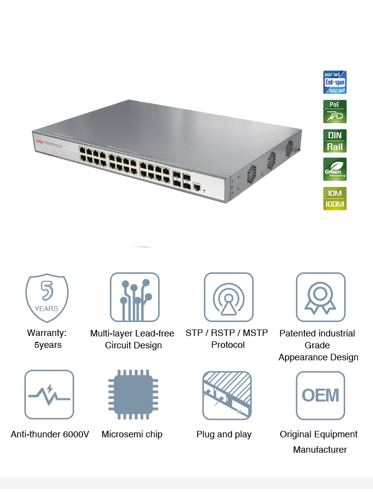 2017 new product 24 ports support PoE switch for industrial field
