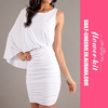 White Stylish Casual One Sleeve Short Mini Club Cocktail Dress