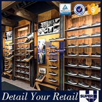 Detachable Wooden Wall Mounted shoes shop display rack sport for sale