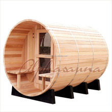 Outdoor sauna for 4 person1800*1800MM for 3-4 Person Red Cedar Barrel Sauna Room With Harvia Burning /Elecrical sauna heater Or