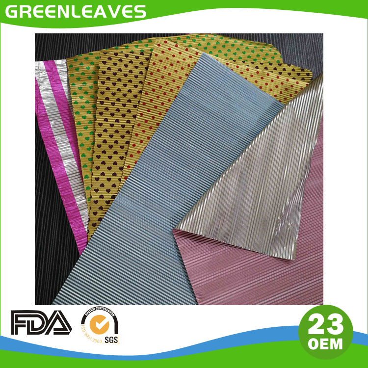 Corrugated aluminium foil for chocoate wrapping with different color