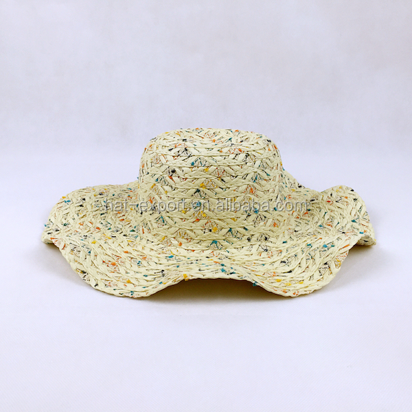 Ladies outdoor sun visor shade wavy wholesale straw hat