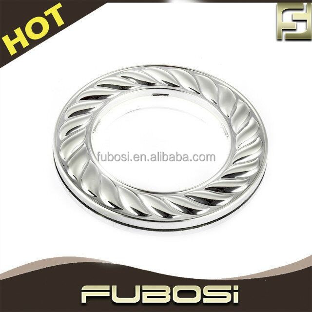 Silver plastic curtain ring for curtain pole/ drape grommet design