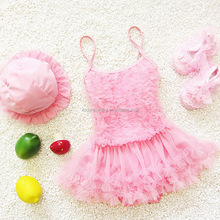 Baby Girls New Swimwear Kids Swimming Bikinis Siamese skirt swimsuit one piece lace sweet Bathing Suit Girls Swimsuit with Cap