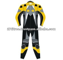 Motorcycle Racing Yellow Leather Suit New 00260