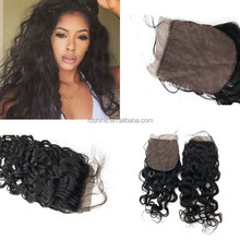 New products water wave virgin hair 4x4 silk base closure with baby hair brazilian human hair