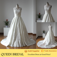 Latest Design V-neck Sleeveless Open Back Satin Train Sequined Lace Wedding Dresses China