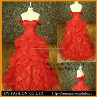 2015 New design tiered lace hand made flower classic dress off shoulder red ball gown elegant bridal gown
