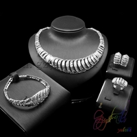 Yulaili new arrival silver plated rhinestone jewelry sets for women Indian special pattern jewelry sets party jewelry suit