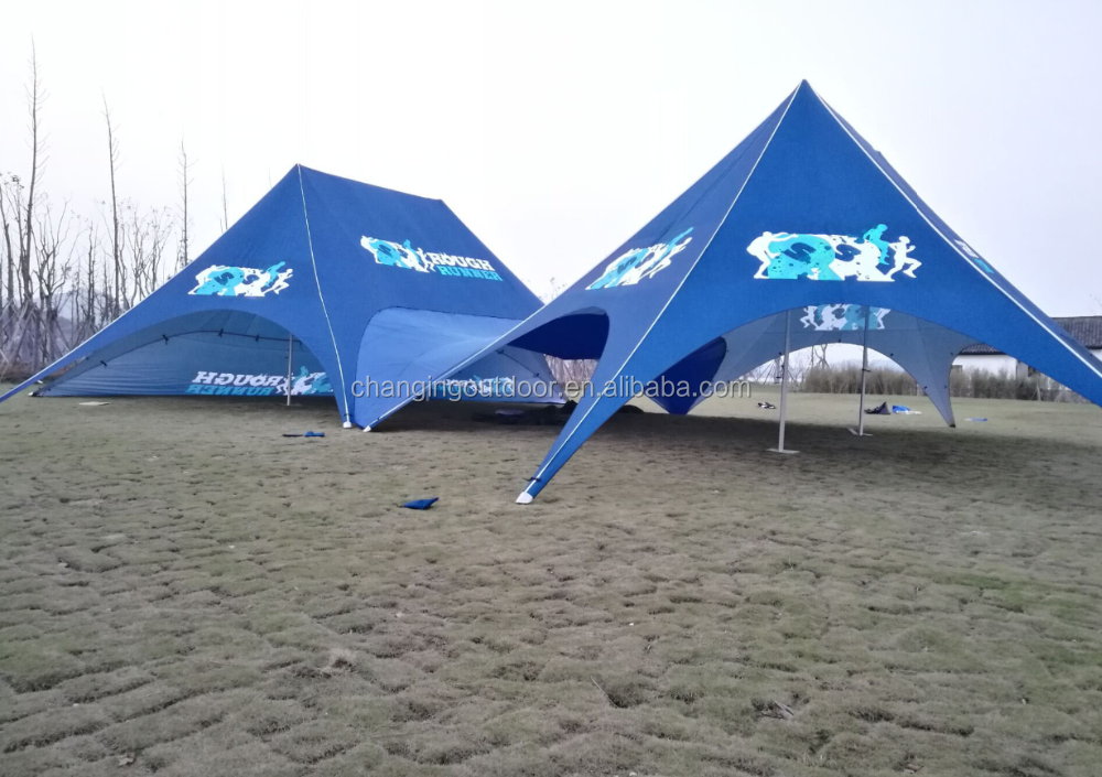 Dia:19.1m x 12.1m full printed blue double pole star tent / marquee tent for sale