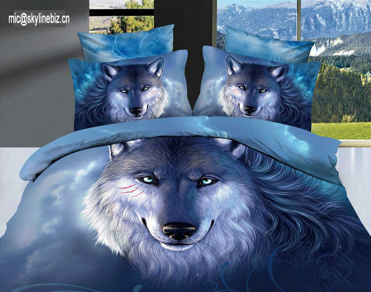 "jcp""custom print animal wolf print beddings/bedding set"