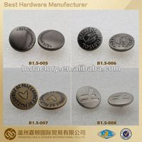 engraved logo antique garment snap on button cover