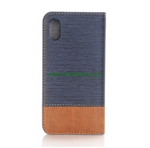 In Stock Cross Pattern Leather Flip Cover Case for iPhone X