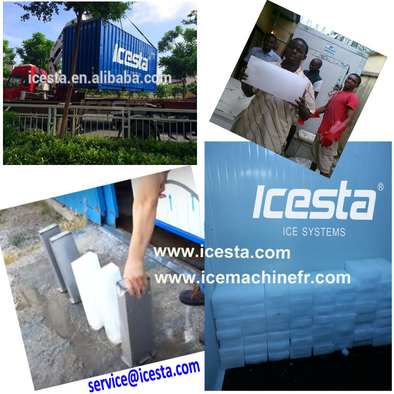 ICESTA Commercial Block ice making machines plate ice maker Brine refrigeration system machine bloc de glace
