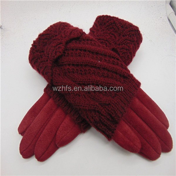Faux Suede Glove Red Warm Hand Glove in Fashion