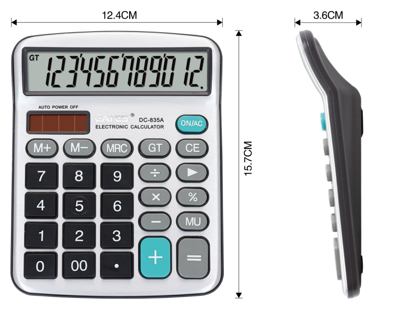 Mini desktop Calculator with solar power and AA battery