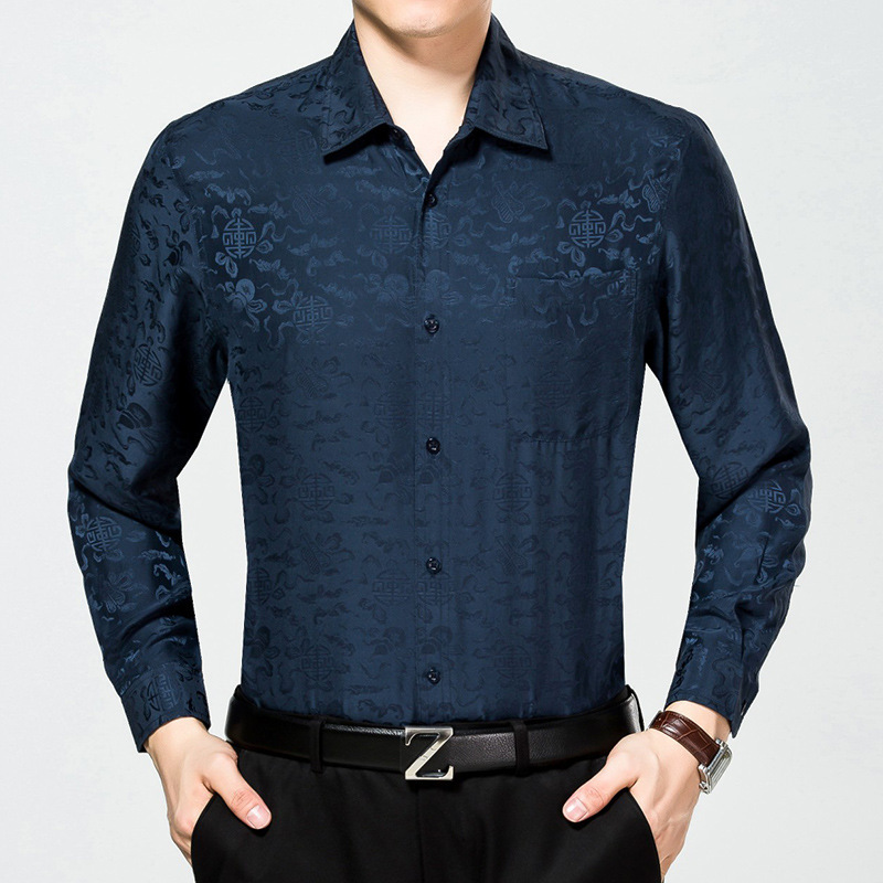 Wholesale High Quality 100% Silk Custom Colorful Printed Long Sleeve Men <strong>Shirts</strong>