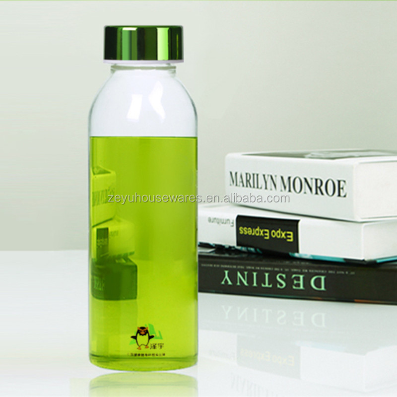 High quality 300ml/400ml/500ml sport glass water bottle for mullein tea/organic oolong tea/thee tea
