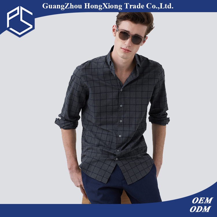 Guangzhou Factory OEM High Quality Customize Cotton Long Sleeve Dark Grey Slim Fit Men Check Shirt