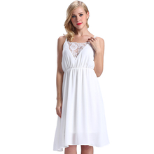 Wholesale Summer Casual Patterns Lace Dress White Spaghetti Strap Dress