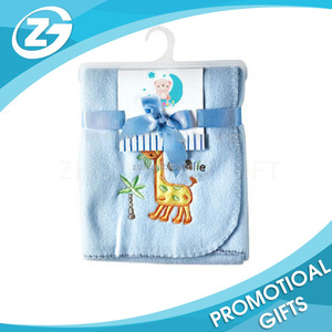 BSCI audited manufacture custom cute animal designs soft embroidery baby coral fleece blanket
