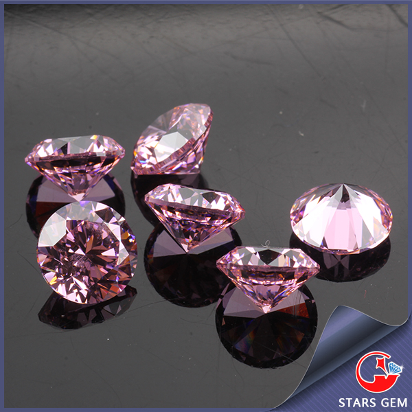 round pink color 1mm 3mm cubic zirconia machine cut cz stones for cz ring