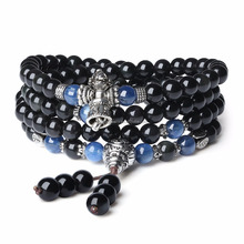 Tibetan Design Mala Natural Obsidian and Kyanite Stretch Bracelet