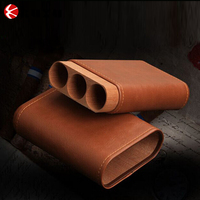 Brown Leather cigar holder\cigar travel humidor wholesale