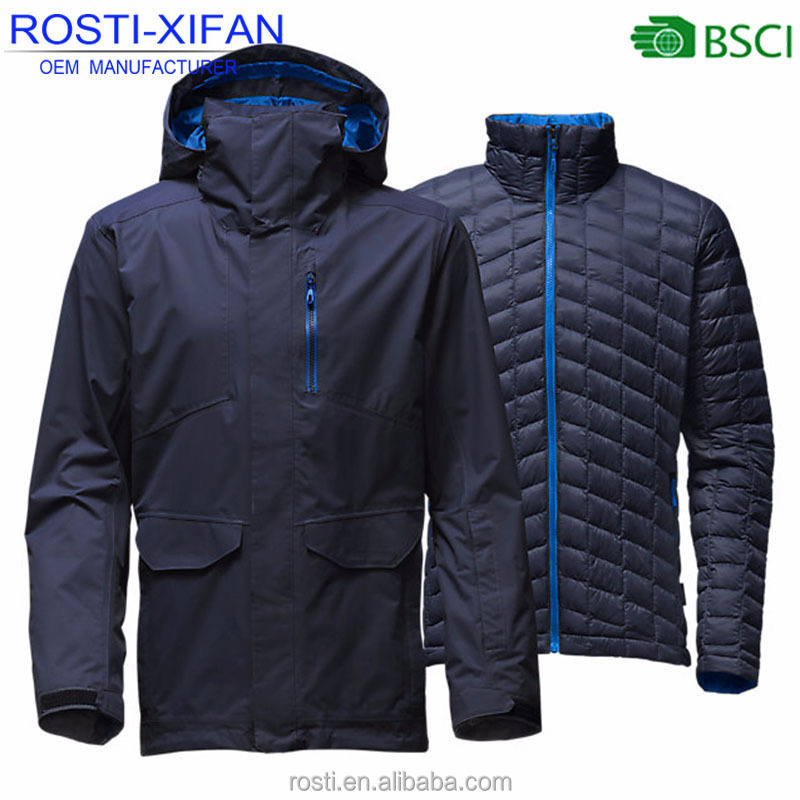 2017 Newest Men Winter Ultralight Quilted Duck Down Ski-wear Outdoor Jacket Two in One