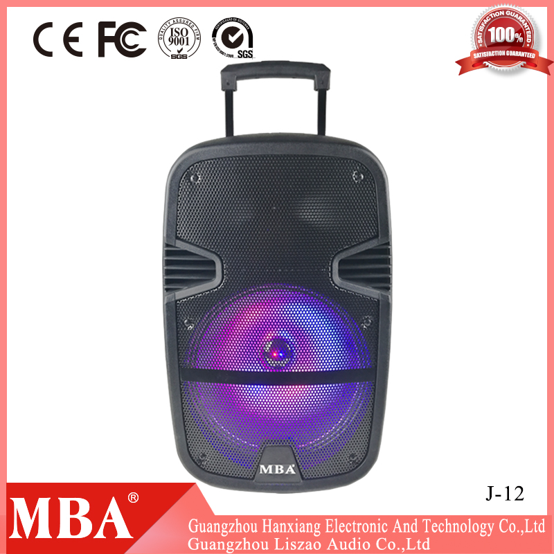 Good price cheap mobile portable trolley lithium battery powered trolley speaker with handle,wheels,flash light,wired microphone