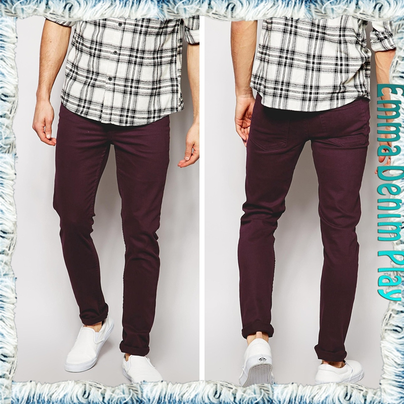 Manufacturer 2015 fashion new style men's slim high quality wine red denim jeans