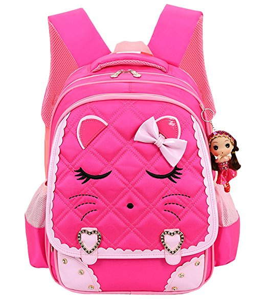 Richmilan----2017 hot sale Cat Face Waterproof Kids Backpack School Bookbag for Primary Girls Students