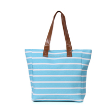 Wentou Summer Handlebags Women Stripe Canvas Beach Tote Bags