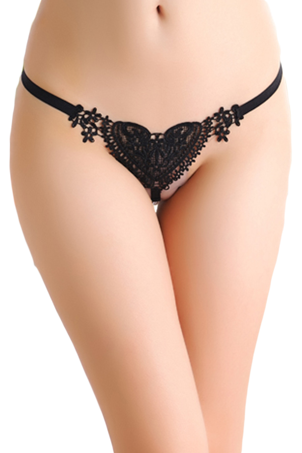 Customized mature 2016 Black Sweet Lace Heart hot sex girls photos g-string