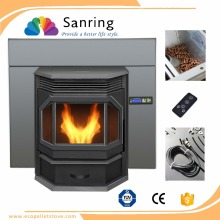 Black cast iron pellet heater with CE and TUV